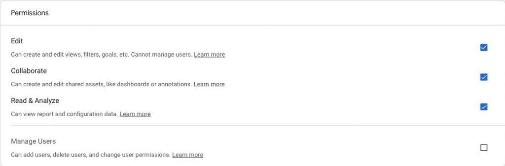 Google Analytics Add User Permissions